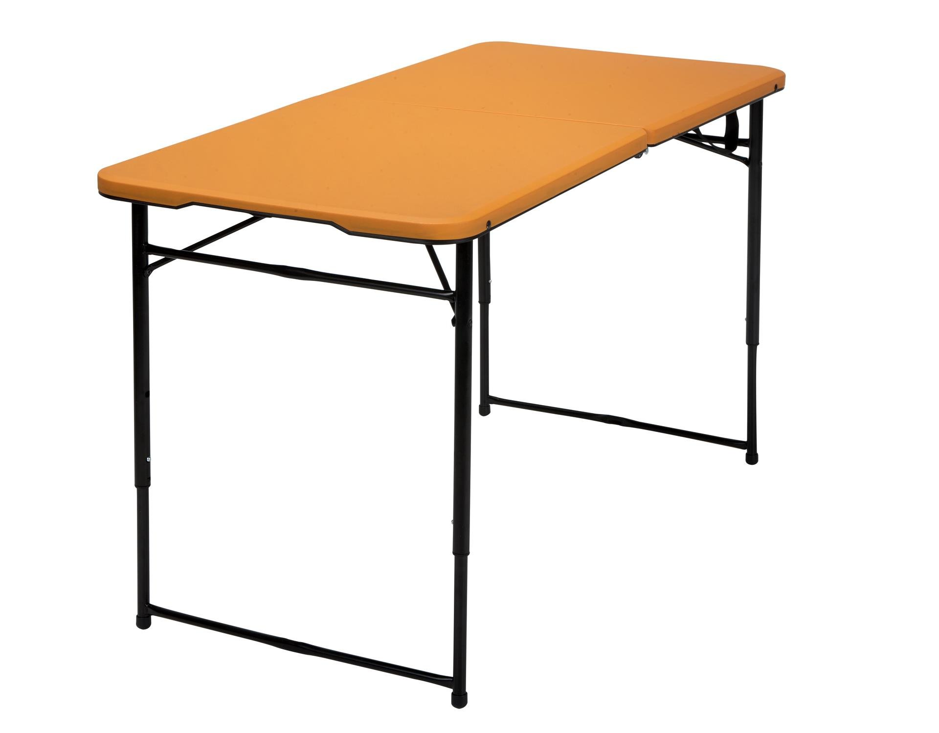 Cosco Products COSCO 4 ft. Indoor Outdoor Adjustable Height Center Fold Tailgate Table with Carrying Handle, Orange Table Top, Black Frame