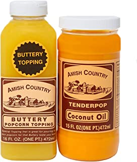 product image for Amish Country Popcorn | Coconut Oil and Buttery Topping Bundle | 15 oz Coconut Oil and 16 oz Buttery Popcorn Topping | Old Fashioned with Recipe Guide