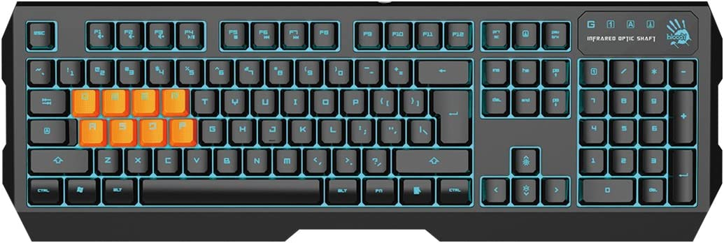 Bloody B188 8-Key Light Strike (LK) Optical Mechanical Gaming Keyboard – Tri-Color LED Backlit – Smooth/Linear Black Switch