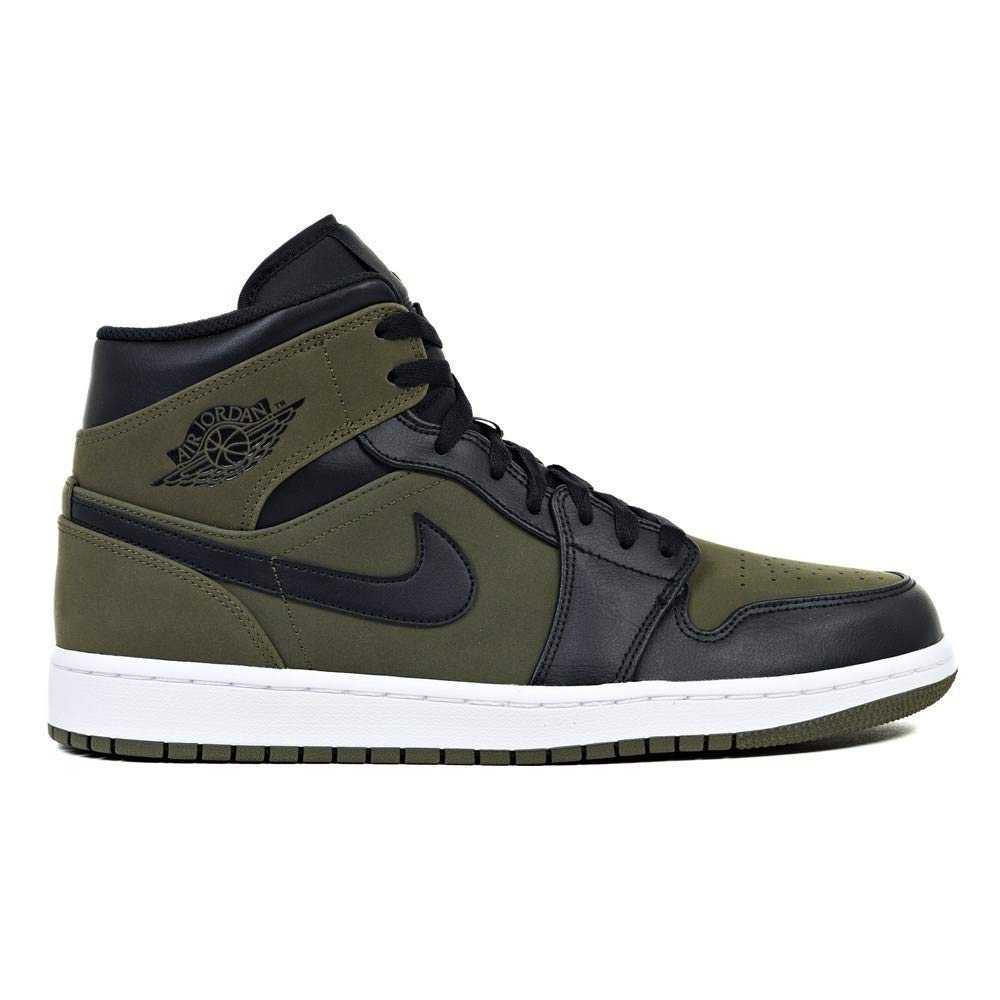 innovative design ce9b6 72f28 Nike Mens Air Jordan Retro 1 Mid Basketball Shoes Olive Canvas/Black-White  554724-301 Size 12