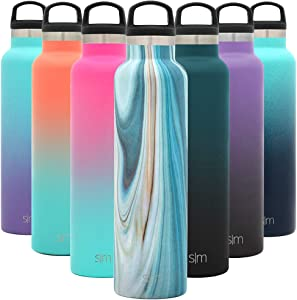 Simple Modern 24oz Ascent Water Bottle - Hydro Vacuum Insulated Tumbler Flask w/Handle Lid - Double Wall Stainless Steel Reusable - Leakproof Pattern: Ocean Quartz