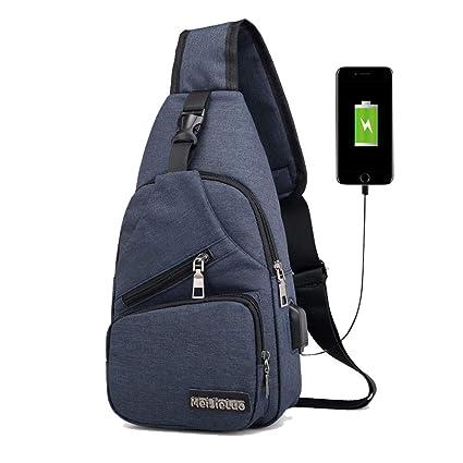 Bolso de Pecho Antirrobo Bolsa de Hombro Mochila Honda Hombre y Mujer Impermeable Multifuncional con Puerto de Carga USB y Puerto para Auriculares pa