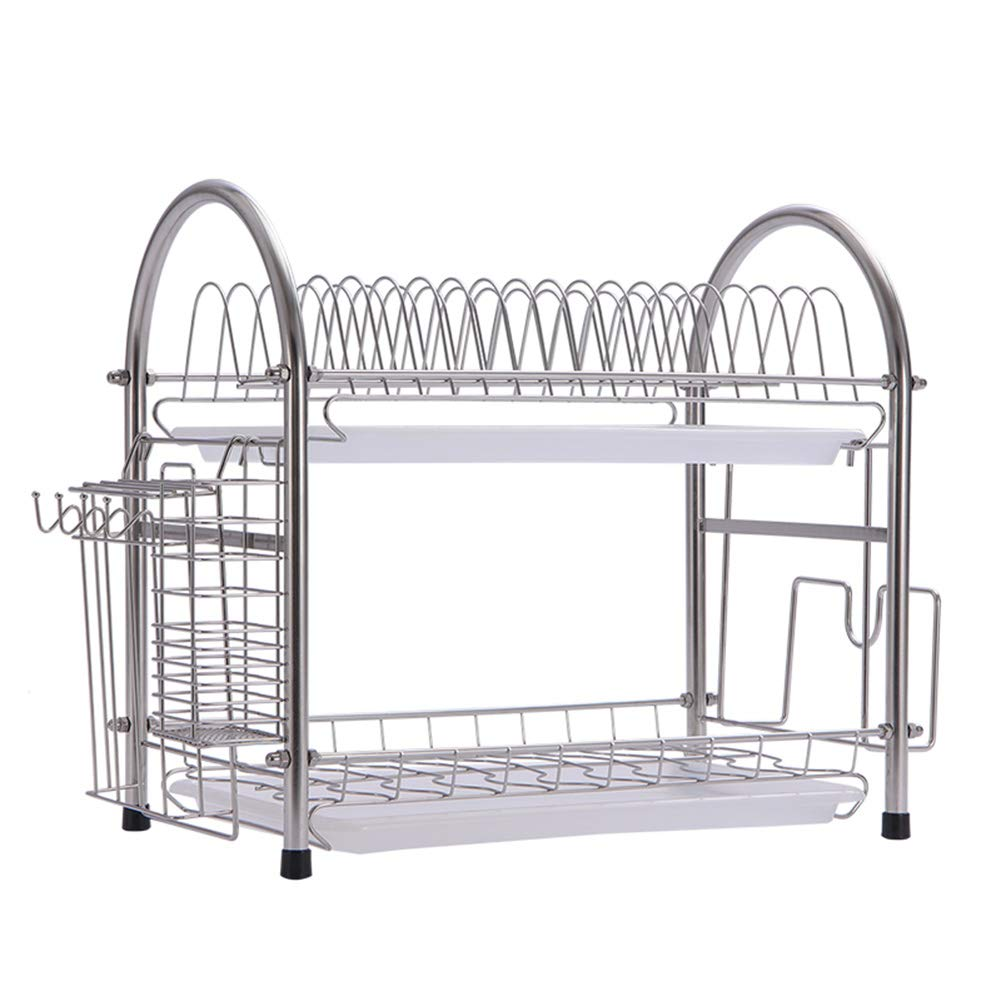 Shelf Storage Racks Storage Basket Shelf Baskets Oven Stand Cupboard Organizers Stainless Steel Kitchen Landing Double Layer Tableware Storage ZHAOYONGLI by ZHAOYONGLI-shounajia (Image #1)