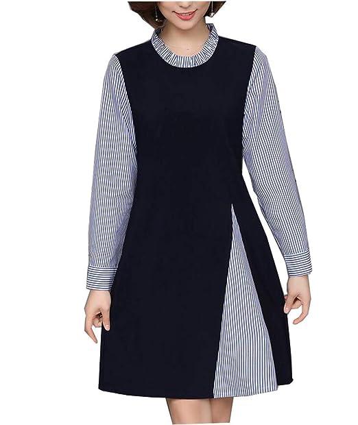 Battercake Mujer Mini Vestido Otoño Invierno Elegantes Moda Vintage Informales Casuales Mujeres Falso 2 Piezas Vestidos