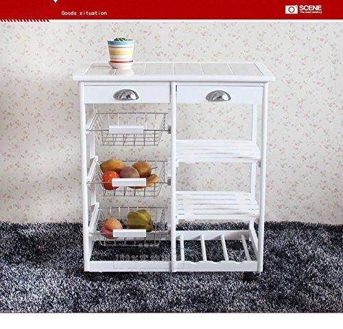 Thxbyebye Kitchen & Dining Room Cart 2-Drawer 3-Basket 3-Shelf Storage Rack with Rolling Wheels White