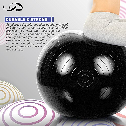 JBM Exercise Yoga Ball with Free Air Pump (4 Sizes 5 Colors) 400 lbs Anti-Burst Slip-Resistant Yoga Balance Stability Swiss Ball for Fitness Exercise Training Core Strength (Black, 60cm-65cm) by JMB (Image #3)