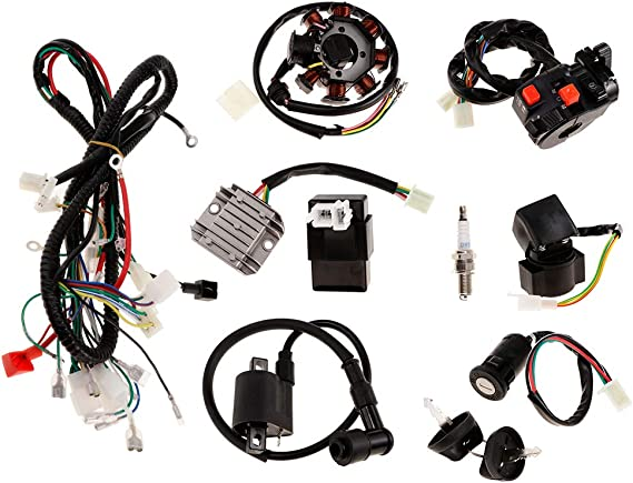 Moligh doll Full Electrics Wiring Harness Loom CDI Coil for GY6 150CC ATV Quad Buggy Go Kart