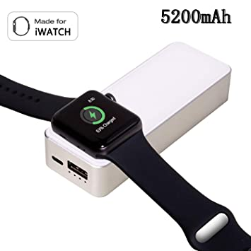 LIUSI Power Bank Compacto 5200mAh Con Cargador Magnetico Original Portátil Externa Batería Para Apple Watch Series 4/3/2/1 iWATCH Carga Para iPhone XS ...