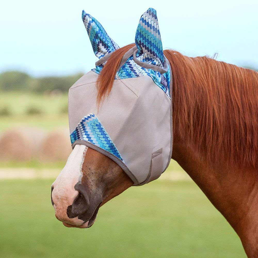 Cashel Designer Fly Mask with Ears Horse Blue Zig