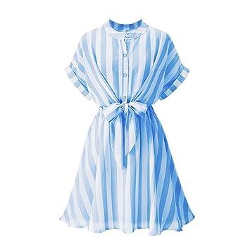 En el verano un simulacro de cuello franjas azules hojas de loto edge vestidos de manga