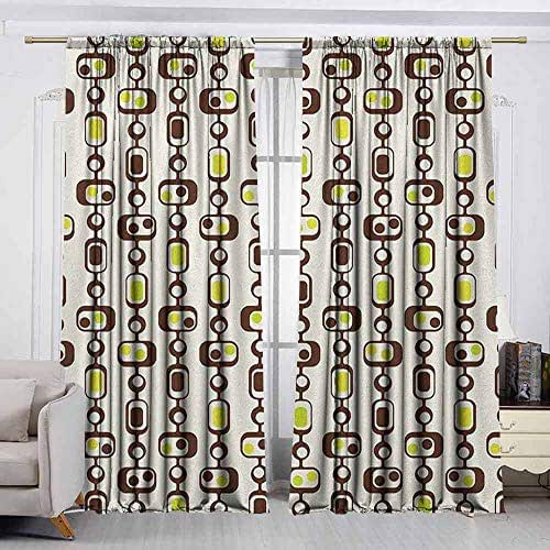 AndyTours Waterproof Window Curtain,Geometric,Darkening Thermal Insulated Blackout,W96x84L Inches Apple Green Chestnut Brown Cream