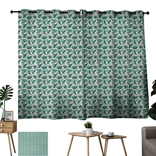 WinfreyDecor Banana Leaf Simple Curtain Monstera Areca and Fan Palm Leaves in Green Artistic Natural Pattern Noise Reducing 63