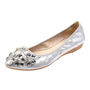 Lady/'s Rhinestone Moccasins Ballet Flats Shiny Sandals Shoes Pointed Toe Loafers