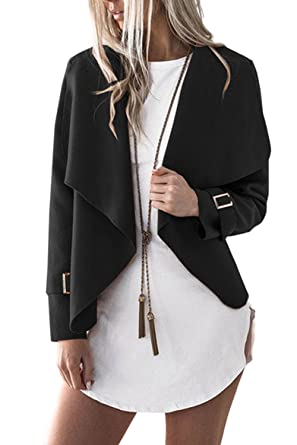 Women Elegant Open Front Irregular Woolen Short Blazer Jacket ...