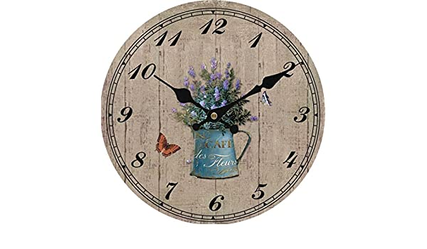 Amazon.com: Upuptop Romantic French Style Wood Background Purple Flower and Vintage Vase Wall Clock 14