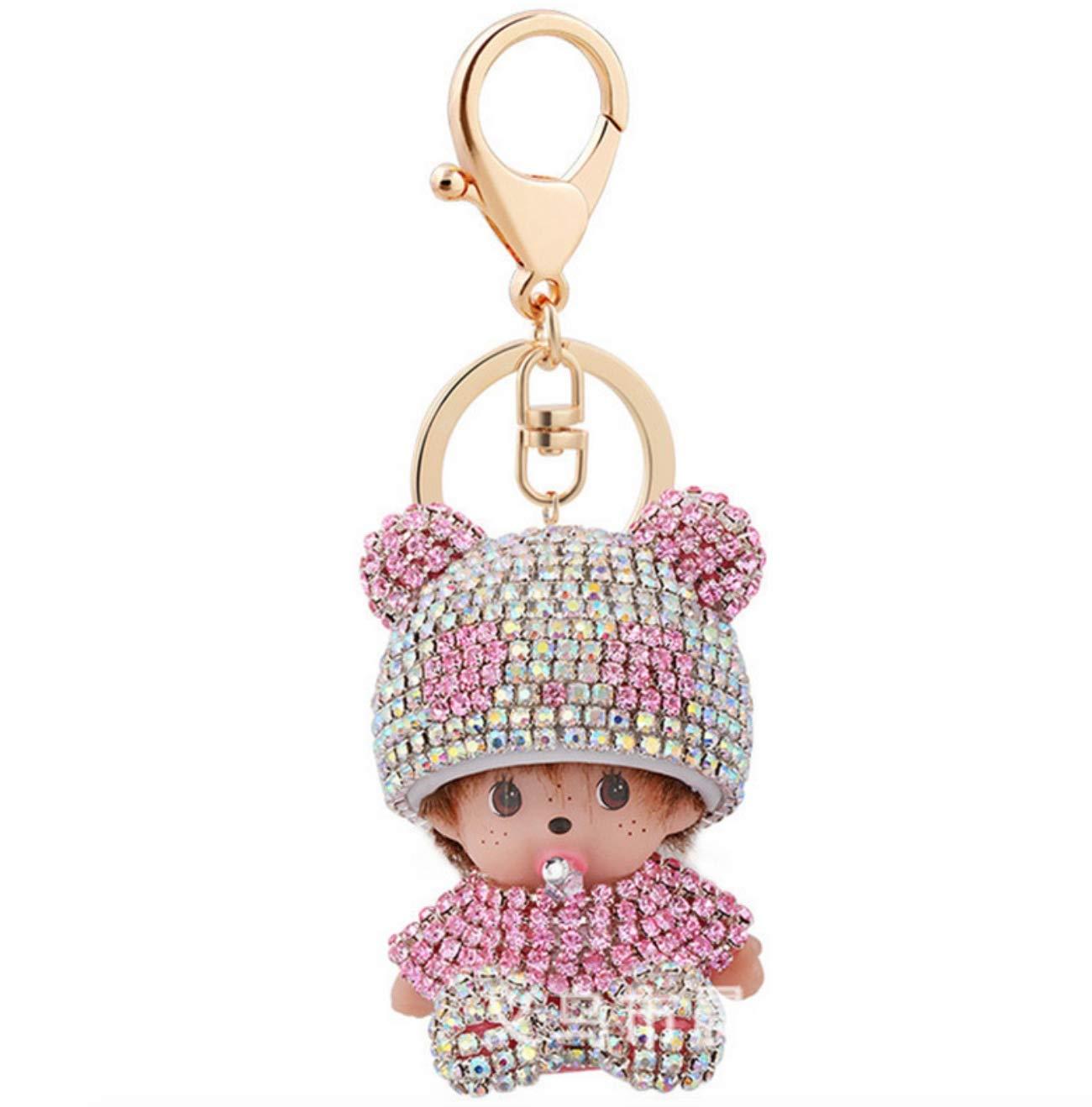 Porte-cl/és Monchichi Kiki Chapeau Diamant Rose