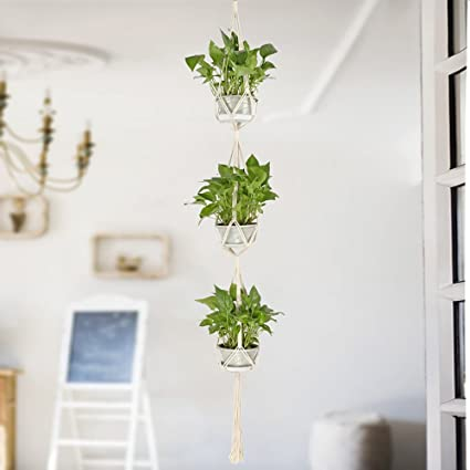 Amazon Com Hanging Plant Holders Classic Macrame 3 Tier Plant