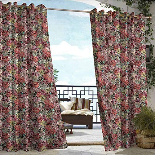 crabee Indoor/Outdoor Single Panel Print Window Curtain Abstract,Rose Flower Surreal,W96 xL96 Outdoor Curtain for Patio,Outdoor Patio Curtains