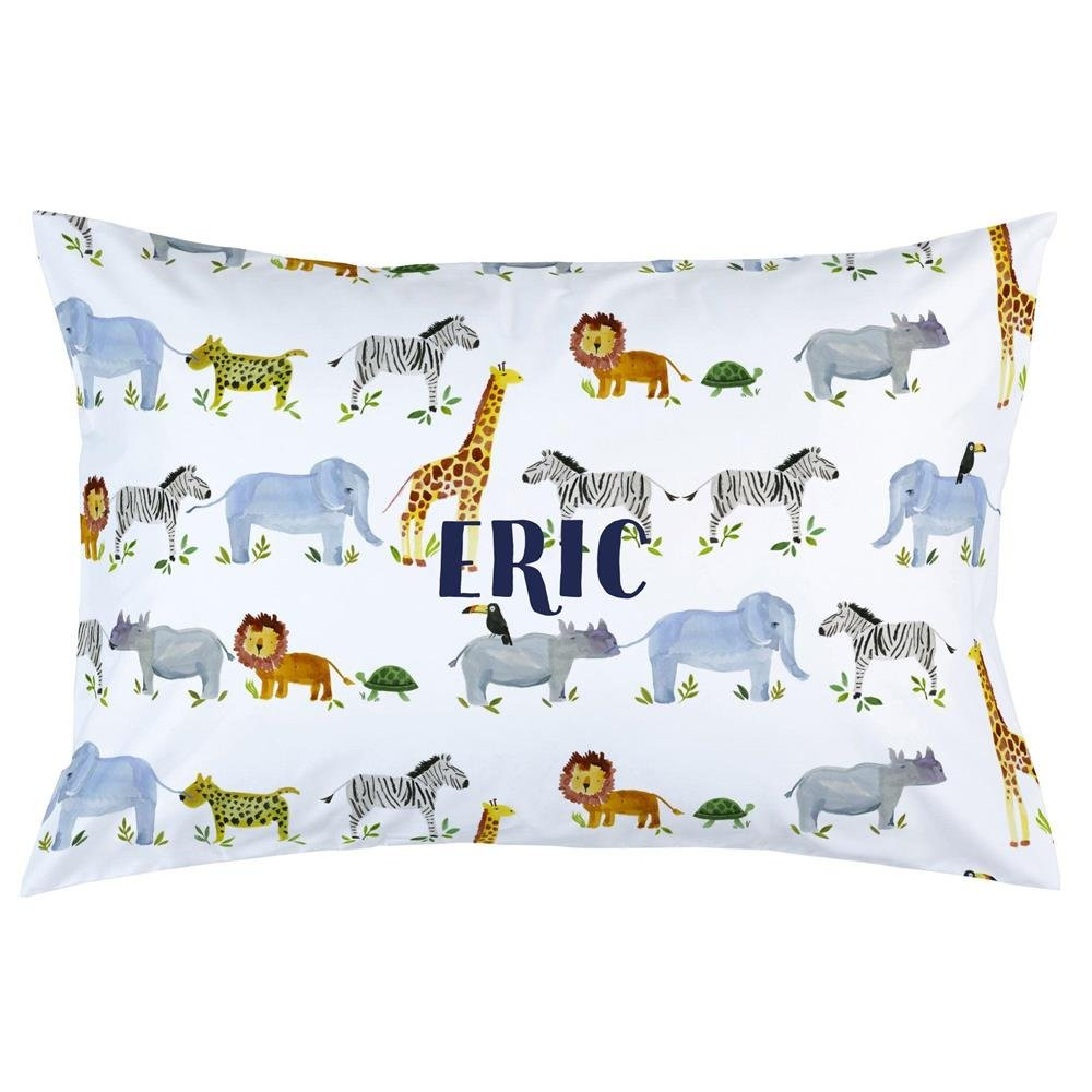 Carousel Designs Personalized Custom Painted Zoo Pillow Case Eric Idea - Organic 100% Cotton Pillow Case - Made in The USA