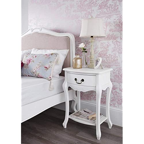 Juliette Shabby Chic Antique White Bedside Table. French Bedside Cabinet  With Drawer And Shelf.