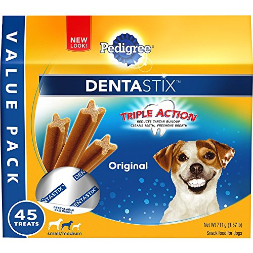 PEDIGREE DENTASTIX Small/Medium Dog Chew Treats, Original, (Pack of 45), Reduces Plaque and Tartar Buildup