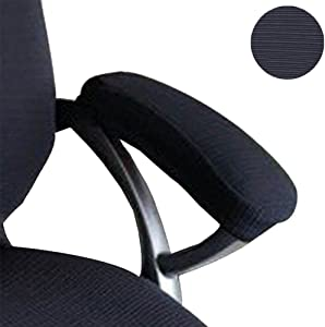 Ozzptuu 2 Pcs Polyester Fabric Removable Stretchy Office Chair Arms Cover Protector Armrest Slipcovers for Desk Chair/Rotating Chair/Computer Chair (Black)
