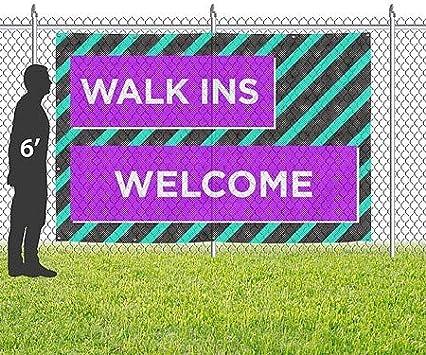 Modern Block Wind-Resistant Outdoor Mesh Vinyl Banner CGSignLab 9x6 Walk Ins Welcome