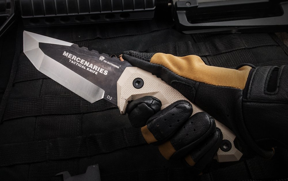 HX-Series fixed blade tactical knives with sheath,Tanto Blade survival knife,Special forces tactical knife,Made of D2 steel and a Ergonomic G10 anti-skid handle (MERCENARIES)