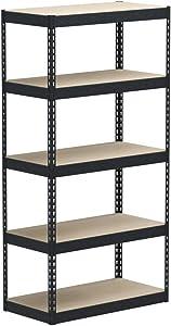 "MonsterRax 18""x36""x72"" Modular Garage Shelving – Hammertone Steel Storage Rack – 300 Pounds Per Shelf – 5-Tier Shelves/Work Bench (18x36x72) (Hammertone, 18"