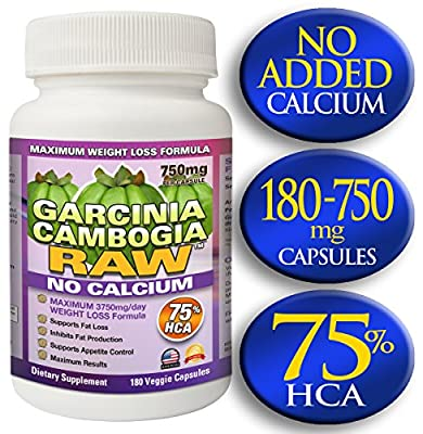 Garcinia Cambogia RAW with 75% HCA. 180 Vegetarian 750mg Capsules per Bottle. No Added Calcium for Maximum Absorption