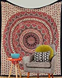 Orange Mandala Tapestry Bohemian Psychedelic Intricate Floral Design Kerala Tapestry Wall hanging Magical Thinking Tapestry Indian Hippie Bedspread Tapestry Throw Queen Bedspread Bedding