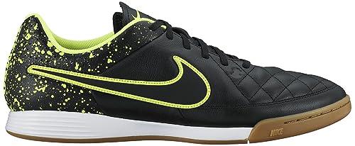 Nike Tiempo Genio Leather IC Indoor Soccer Shoe (Black, Volt) Sz. 12.5