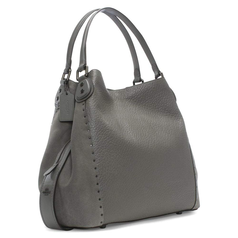 2a84c65a82 Coach Rivets Edie 42 Heather Grey Pebbled Leather Shoulder Bag Grey Leather   Amazon.co.uk  Shoes   Bags