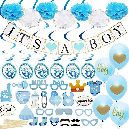 Baby Shower Decorations for Boy Includes matching 'Its A Boy' Banner & Balloons, Cute Photo Booth Props, Blue & White Flower Decor, AND MORE