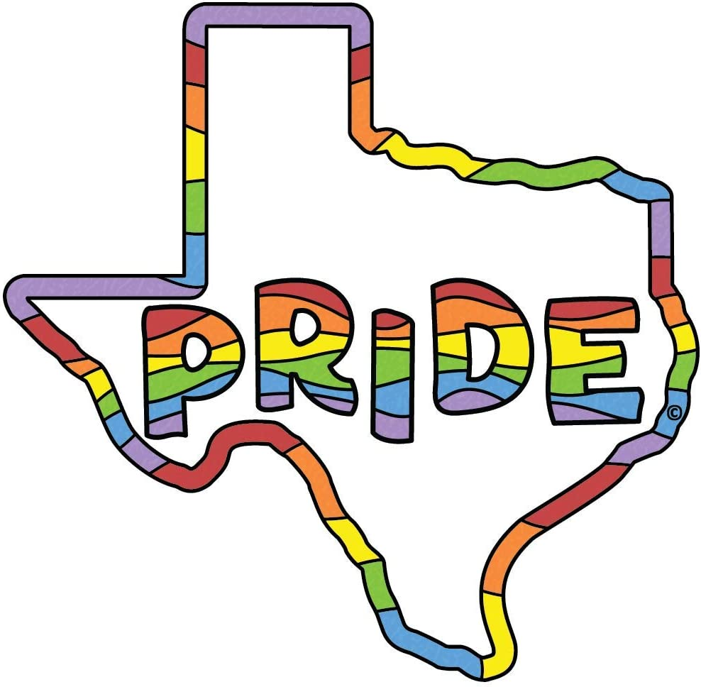 Gay Pride Rainbow Flag Sticker - Texas | TX State Shaped Decal | Apply to Water Bottle Decal Laptop Computer Bumper | Coexist Lesbian Bisexual Transsexual LGBTQ Cowboy Texan Sock Love Dallas Hear