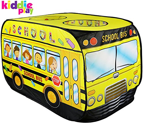 Why Should You Buy Kiddie Play School Bus Pop Up Play Tent for Kids with Back Door and 2 Top Entranc...