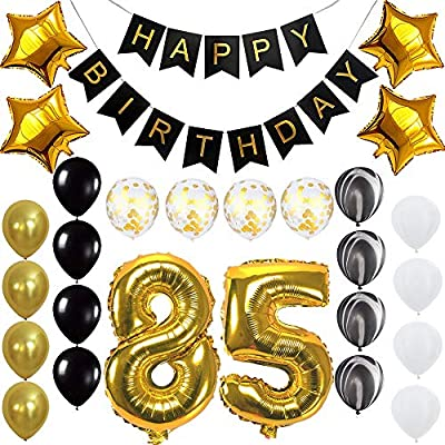 Amazon Happy 85th Birthday Banner Balloons Set For 85 Years Old Party Decoration Supplies Gold Black Health Personal Care