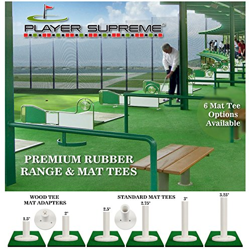 Player Supremed 3 Pack Rubber Golf Tees for Practice & Driving Range Mats