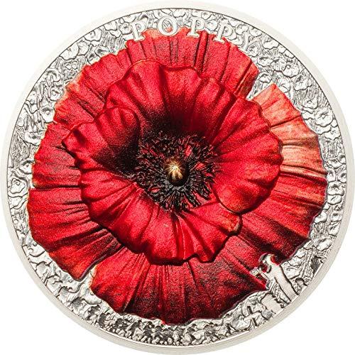 Poppy Mohn High Relief Flowers Leaves 2 oz Silber Munze Palau 10 Palau Munze 2018 347a80