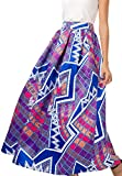 NINEWE Women's High Waist Flared Skirt Pleated Floral Skirt with Pocket Purple Geometric 8
