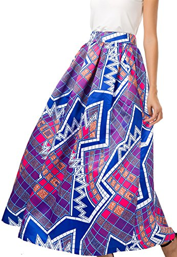 NINEWE Women's High Waist Flared Skirt Pleated Floral Skirt with Pocket Purple Geometric 12 by NINEWE