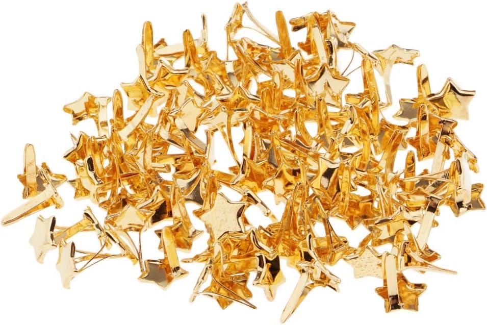 5x5x10mm dailymall 50//100 St/ück Mini Brads Rundkopf Klammern Flachkopfklammern Musterbeutelklammern