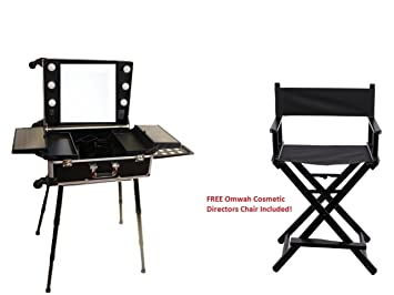 Professional Rolling Studio To Go Makeup Artist Station Portable Vanity  Trolley Wheels Train Case With LED