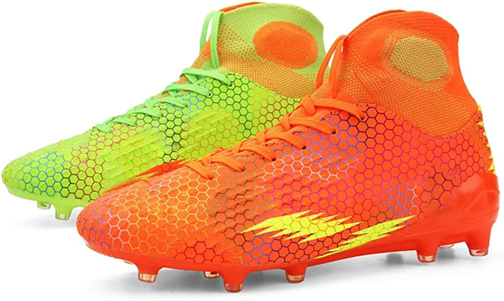 WELRUNG Unisex's AG Cleats Professional Long Studs Wear Resistant Football Training Athletic Soccer Shoes for Youth