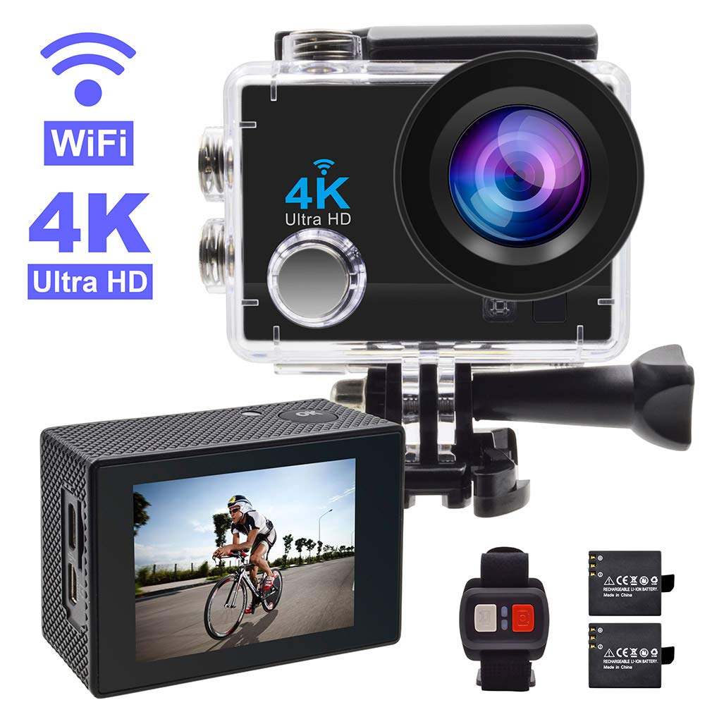 Action Camera,GEREE 4K WiFi Waterproof Sports Cam 170 Degree Wide Angle Lens with 2 Rechargeable Battery and Mounting Accessories Kits by GEREE