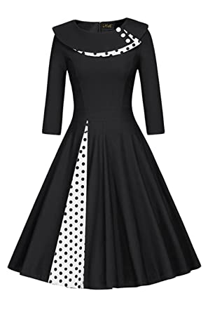 e953befbd94d Women's 50s Vintage Polka Dot O-Neck Rockabilly Cocktail Party Dress ...