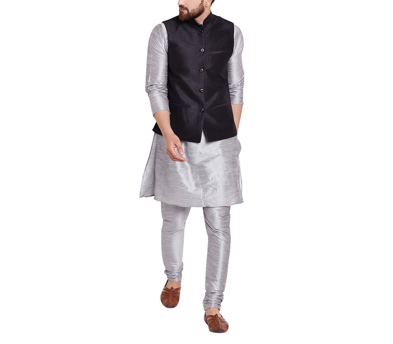 Sojanya Men's Dupion Silk Nehru Jacket XX-Large Black