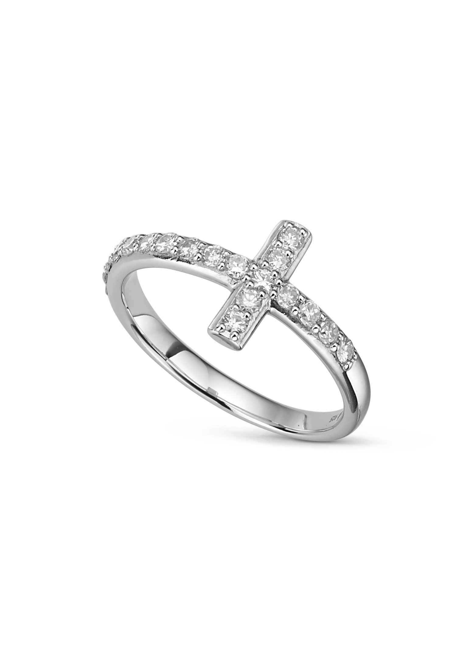 Round Brilliant Cut 1.8mm Moissanite Pave Cross Ring size 8, 0.48cttw DEW by Charles & Colvard