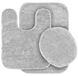 Fancy Linen 3pc Non-Slip Bath Mat Set Solid Silver/Light Grey Bathroom U-Shaped Contour Rug, Mat and Toilet Lid Cover New #Angela