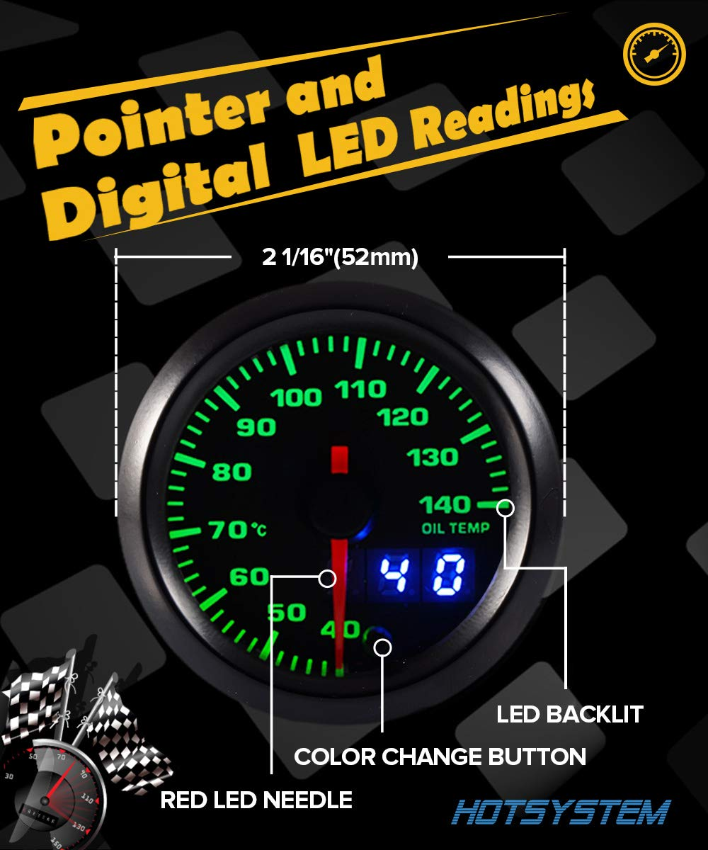 HOTSYSTEM 7 Color Oil Temperature Gauge Kit 40-140 Celsius Pointer /& LED Digital Readouts 2-1//16 52mm Black Dial for Car Truck